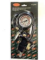 ROCKFORCE Пистолет для подкачки шин с аналоговым манометром и шлангом (0-16bar, манометр заполнен глицирином),