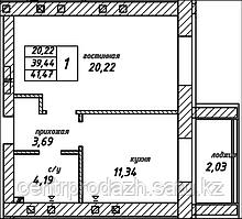 1 комнатная квартира в ЖК Урбан 41.47 м²