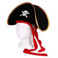 Шляпа Пирата с золотистой тесьмой и красной лентой