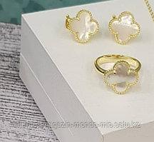 Серебряный набор: Кольцо и Серьги Van Cleef