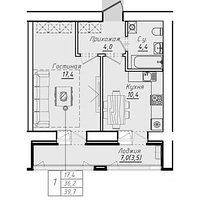 1 комнатная квартира в ЖК Люксембург 39.7 м²
