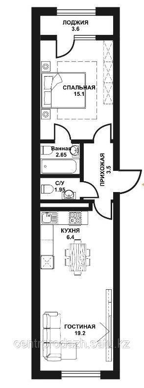 2 комнатная квартира в ЖК Табысты 52.2 м²
