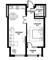 2 комнатная квартира в ЖК Табысты 54.70 м²