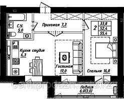 2 комнатная квартира в ЖК Рио-де-Жанейро 56.4 м²