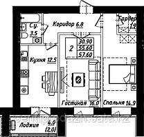 2 комнатная квартира в ЖК Рио-де-Жанейро 57.6 м²