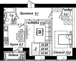 2 комнатная квартира в ЖК Рио-де-Жанейро 62.2 м²