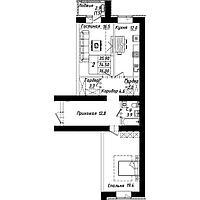 2 комнатная квартира в ЖК Рио-де-Жанейро 75.6  м²