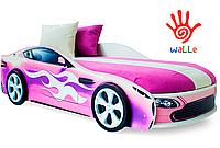 Кровать машина детская Бондмобиль розовый