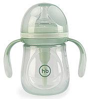 Бутылочка Happy Baby Anti-Colic Baby Bottle антиколиковая с ручками и силиконовой соской 180мл Olive