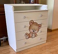 Комод Фея 1580 пеленальный (4 ящика) Медвежонок белый