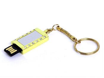 USB-флешка на 8 Гб в виде Кулона с кристаллами, мини чип, золотой