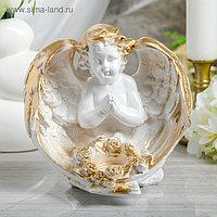 """Статуэтка """"Ангел с цветами"""" белая, 23 см"""