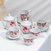 Сервиз чайный «Космея», 14 предметов: чайник 850 мл, сахарница 350 мл, 6 чашек 250 мл, 6 блюдец 15 см