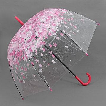 Зонт - трость полуавтоматический «Цветы», 8 спиц, R = 40 см, цвет розовый