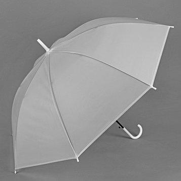Зонт - трость полуавтоматический «Однотонный», 8 спиц, R = 46 см, цвет белый