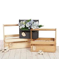 Набор деревянных ящиков 3 в 1 с шильдиком и ручкой «Улыбайся. Мечтай. Люби» 30 × 21 × 26 см