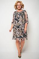 Женское осеннее шифоновое коричневое нарядное большого размера платье Michel chic 2065 коричневый 52р.