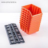 Набор малых лотков для метизов с планкой BranQ, 9 шт, цвет МИКС