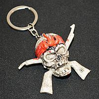 Брелок подвеска на сумку и ключи череп с ружьем 11 см