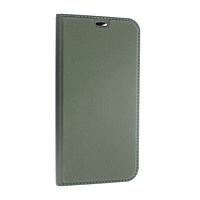 Чехол книжка Apple iPhone 12 кожа, зеленый