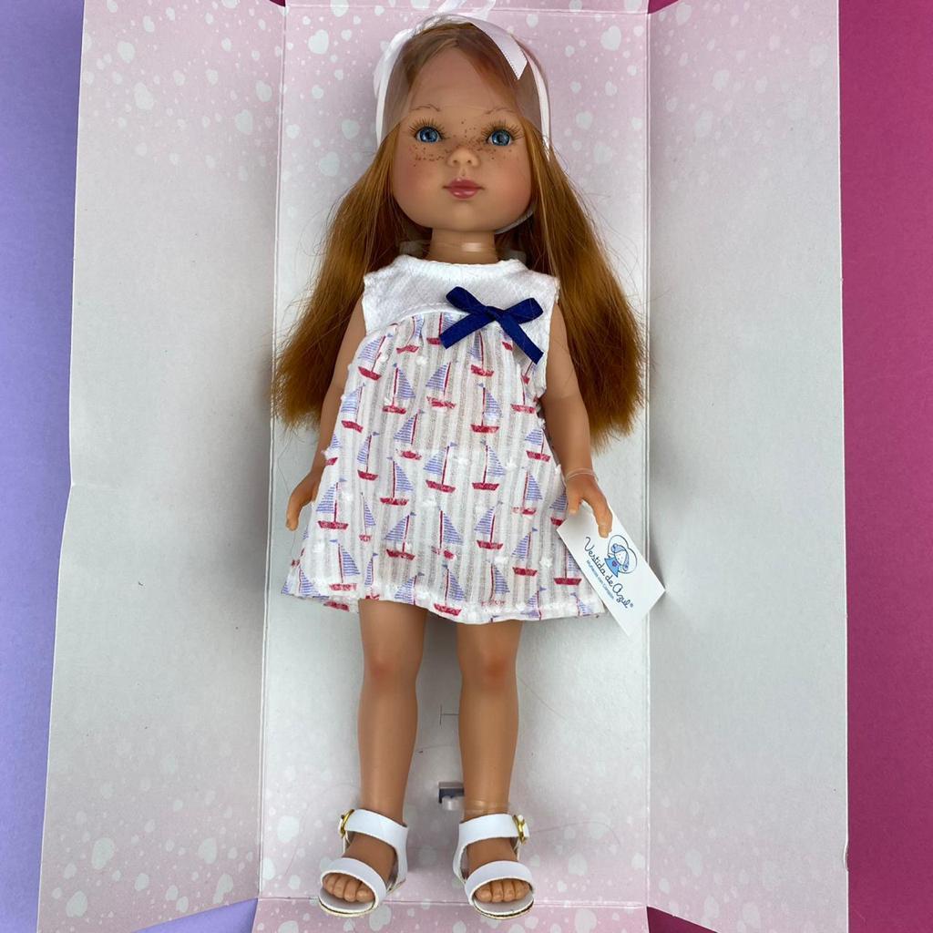 Карлота с рыжыми волосами, в платье с парусниками, с ободком и сандаликах/ 28 см/ (Vestida de Azul, Испания) - фото 2