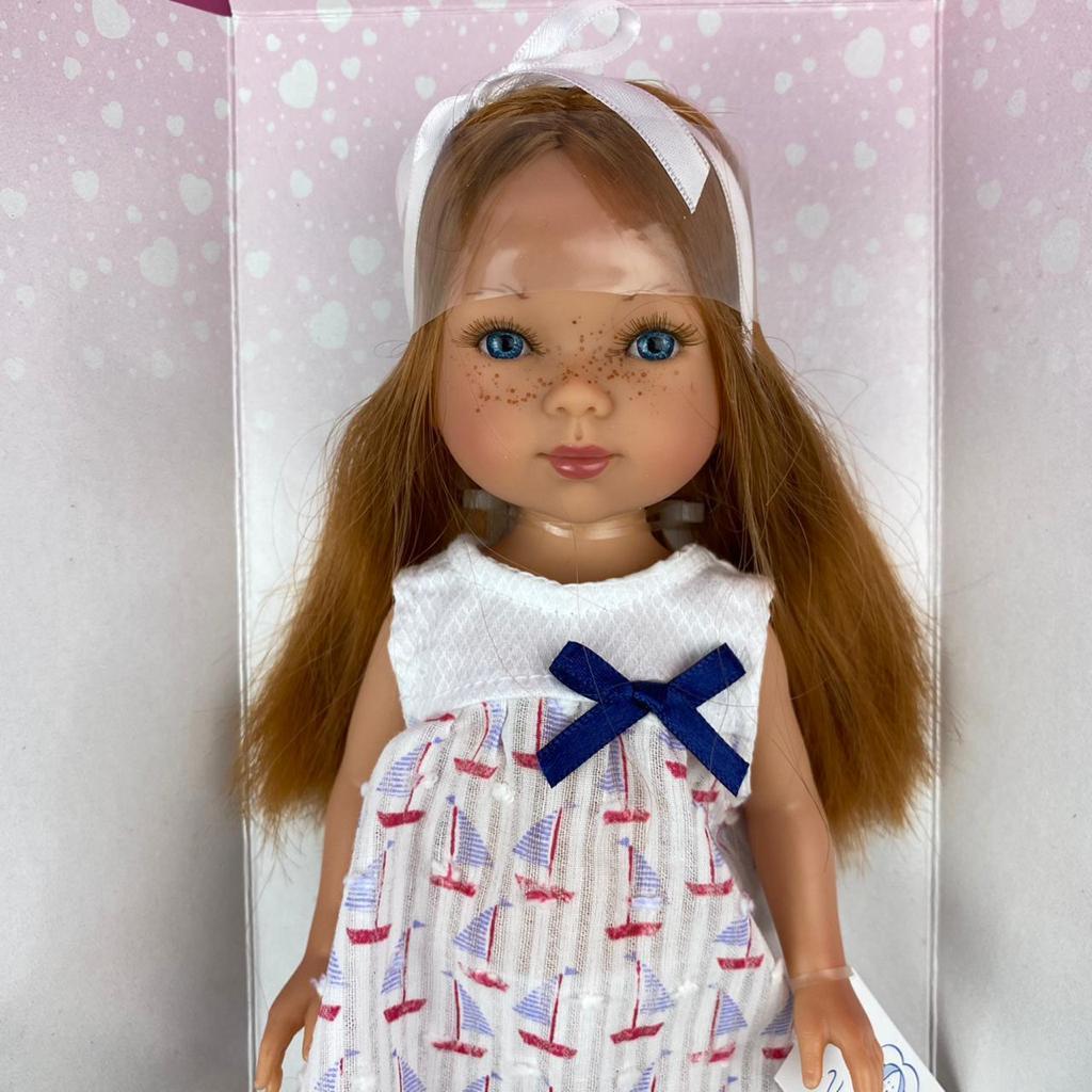 Карлота с рыжыми волосами, в платье с парусниками, с ободком и сандаликах/ 28 см/ (Vestida de Azul, Испания) - фото 3