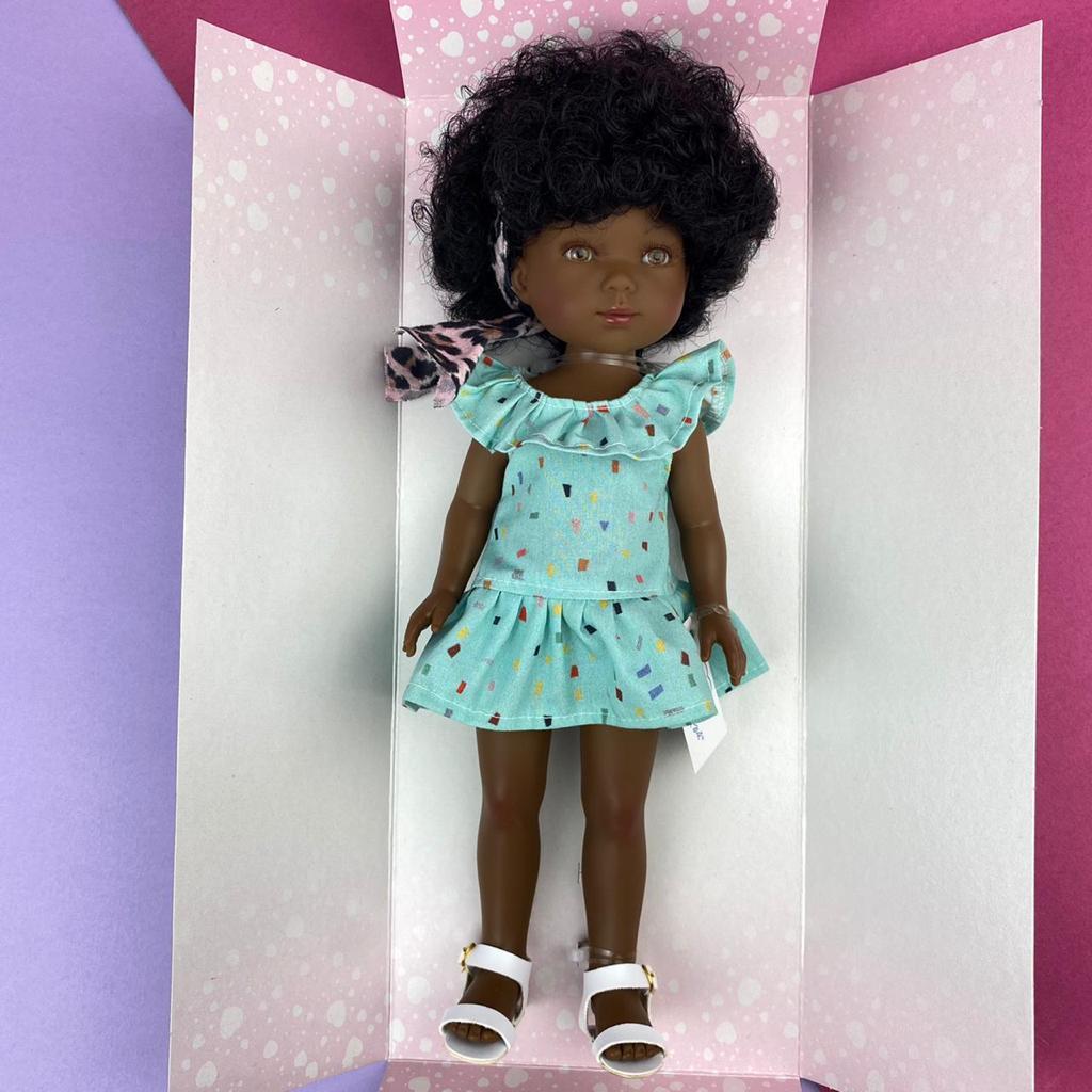 Карлота афроамериканка в голубом платье с повязкой/ 28 см/CAR727/ (Vestida de Azul, Испания) - фото 2