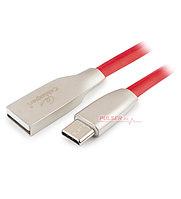 Кабель USB, Cablexpert CC-G-USBC01R-1.8M, 1.8м Cable Type A - Type C, USB 2.0, red