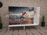 Шкаф для раздевалки с фотопечатью 1-местный, лавочка на металлокаркасе, двери прямые, фото 1