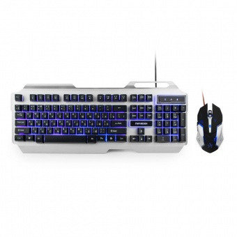 Клавиатура и мышь Гарнизон GKS-510G Черный/серебристый