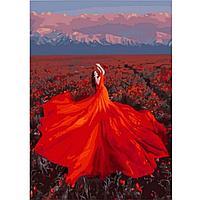 """Картина по номерам """"Девушка в оранжевом платье"""" 40х50 см"""