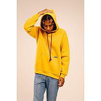 Худи утепленный, oversize,unisex,темно-желтый,S+,объем капюшона 5L, в чехле. Коллекция URPAQ.ТМ Tengri People.