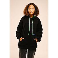 Худи утепленный, oversize,unisex,черный,XL+,объем капюшона 5L, в чехле. Коллекция URPAQ.ТМ Tengri People.