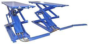 Подъемник ножничный короткий г/п 3000 кг. напольный KraftWell KRW3FS/220_blue