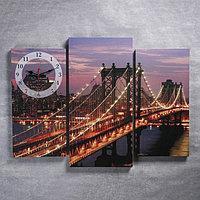 Часы настенные модульные «Светящийся мост ночью», 60 × 30 см и 50 × 25 см