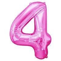 """Шар фольгированный 32"""" Цифра 4, индивидуальная упаковка, цвет розовый"""