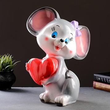 "Копилка ""Мышка с сердцем"" 41х28х21см серая"