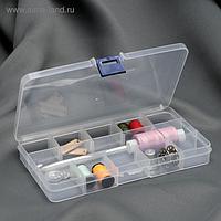 Контейнер для бисера, со съёмными ячейками, 15 отделений, 17,5 × 10 × 2 см, цвет прозрачный
