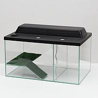Аквариум-террариум с мостиком 50 литров, с чёрной крышкой, 55 x 33 x 29 см