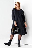 Женское осеннее хлопковое черное большого размера платье Панда 57280z черный 48р.