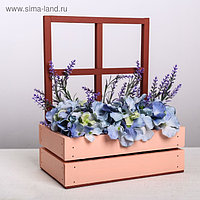 Кашпо флористическое с окном, бордо, 15 х 25 х 30(9) см
