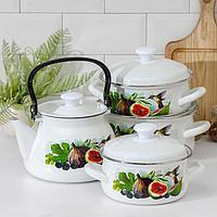 Набор посуды 'Инжир', 4 предмета 1,5 л, 2 л, 3 л, чайник 3л
