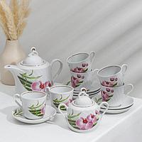Сервиз чайный 'Бамбуковая орхидея', 14 предметов чайник 1 л, сахарница 400 мл, 6 чашек 220 мл, 6 блюдец d14 см