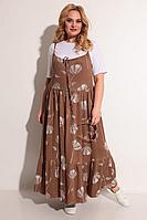 Женский летний трикотажный коричневый большого размера комплект с платьем Michel chic 1236 коричневый+белый