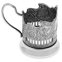 Подстаканник 'Спасская башня', стакан d6,1 см, никелированный, с чернением