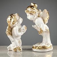 Набор статуэток 'Ангел и мотылек', 2 предмета, бело-золотистый, 26 см