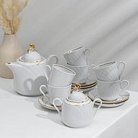Сервиз чайный 'Голубка. Бомонд', 14 предметов чайник 1 л, 6 чашек 220 мл, 6 блюдец d14 cм, сахарница 400 мл
