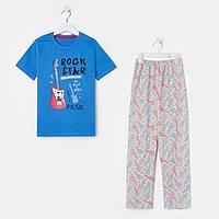 Пижама для мальчика, цвет синий/серый, рост 122-128 см
