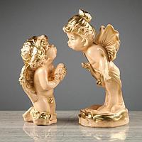 Набор статуэток 'Ангел и мотылек', 2 предмета, бежевый, 28 см