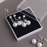Серьги с жемчугом набор 3 пары 'Карнавал' шар, цвет белый в серебре